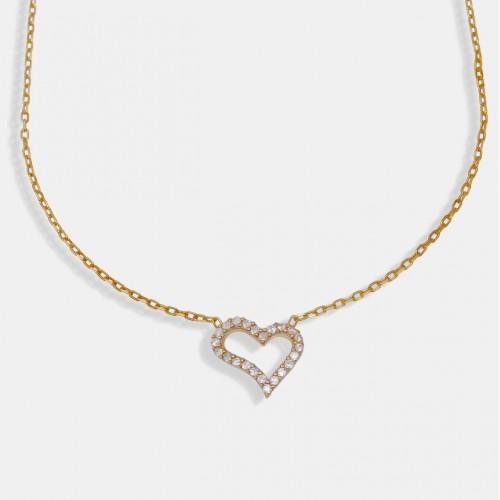 Taşlı Kalp Kolye - Gold - 925 Ayar Gümüş